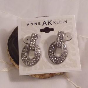 Anne Klein Silver Tone Rhinestone Earrings